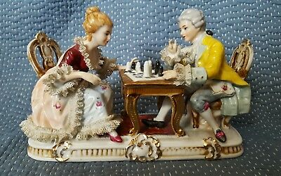 Vtg Large DRESDEN LACE STYLE Unbranded Figurines Man and Woman Playing Chess