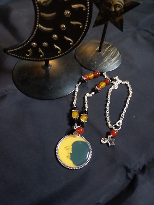 Powerful Carnelian And Topaz Moon Necklace