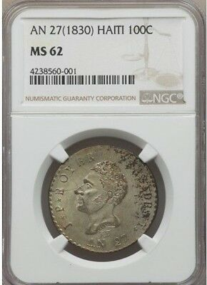 1830 AN 27 Haiti 100 Centimes, NGC MS 62, Crude Planchet