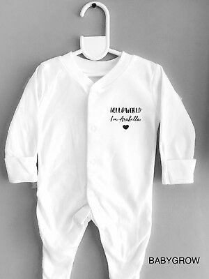 Funky PERSONALISED 'HELLO WORLD' Unisex baby clothing babygrow sleepsuit gift