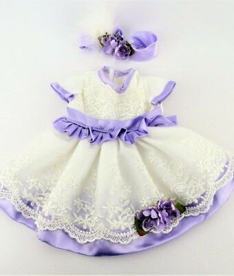 """Doll Clothes 18"""" Dress Lavender Lace Headband Fits American Girl Dolls"""