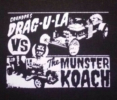 The Munsters PATCH canvas screen print HORROR - Dragula vs Munster Coach. Herman