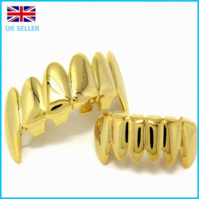 Gold Fangs Grill Plated Teeth Mouth Top Bottom Bling Hip Hop Gangster Rap
