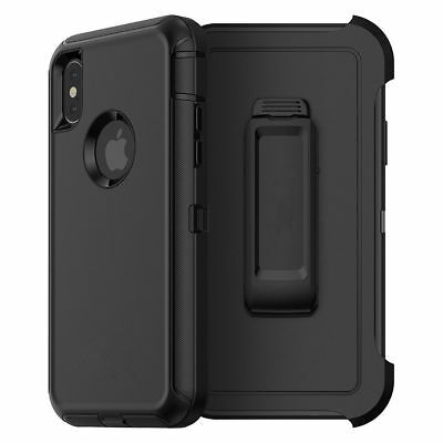 BLACK iPhone XR | XS Defender Case Shockproof Cover Clip Fits Otterbox Serires
