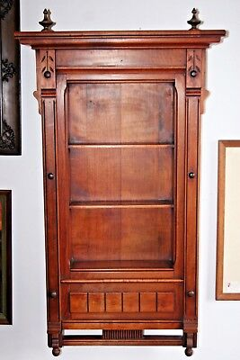 """Antique Victorian Style American 3-Section 43"""" Carved Wooden Hanging Wall Shelf"""