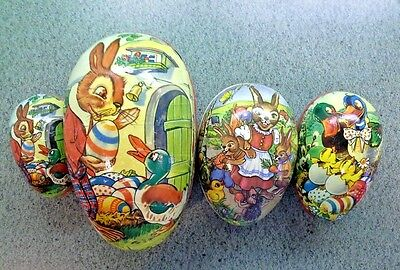 Varied Lot of 4 Colorful Vintage Decorative PAPER EASTER EGGS With Fun Graphics