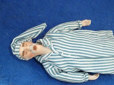 Dolls House 1/12th  Porcelain Character Victorian  ShSleeping Old Man in Night