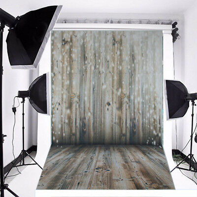 Christmas Photography Background Warm Wooden Vinyl Backdrop Studio Props 3x5FT