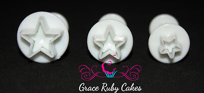 Star Plunger Cutters And Embosser  Fondant Icing Cake Mould Decorating Set