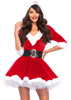 Leg Avenue Women's Miss Naughty Santa Christmas 2 PC Mrs Clause Dress Costume