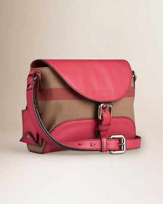 02b520231311 Burberry Small Canvas and Leather Pink bag ( cross body purse ) Check Henham