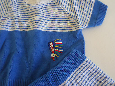 Vtg 60s HIPSTER INDIAN HEADDRESS 2-PIECE KNIT OUTFIT Boy BLUE STRIPE SZ 3-6 MO