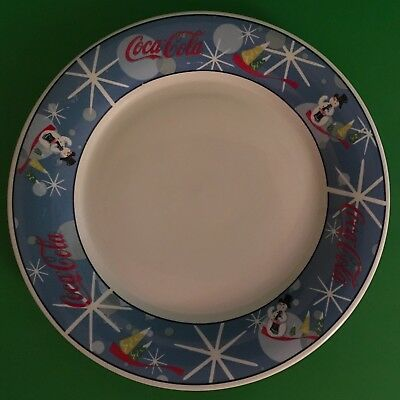 Coca Cola Stoneware Laughing Snowman Large Dinner Plate Blue Snow Flakes 11 1/4""