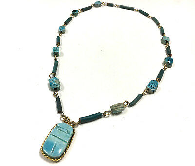 Vintage Egyptian Turquoise Blue SCARAB Pentant Faience Necklace Gold Tone i181J