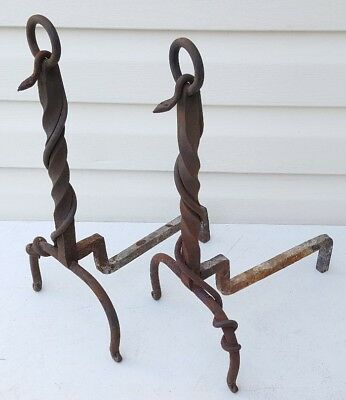 Antique Vintage Wrought Iron Figural Snake Fireplace Andirons Hand Forged Hearth