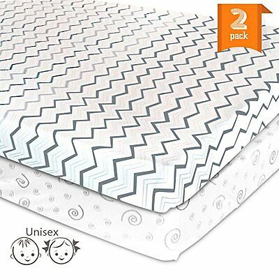 Pack N Play Playard Portable Crib Sheet Set 2 Jersey Cotton Fitted Sheets Unisex