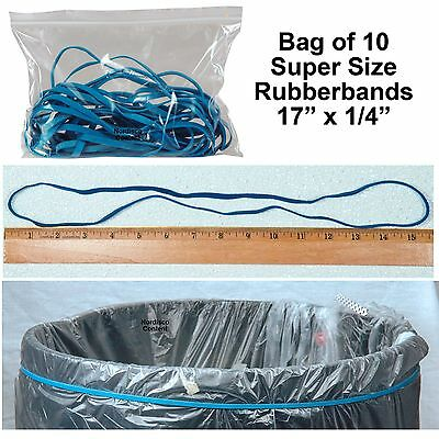 """Large Rubber Bands, Long Rubber Bands, 17"""" x 1/4"""", Blue, Pack of 10"""