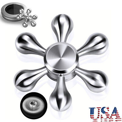 Silver 6 Side Fidget Hand Spinner Finger Toy EDC Focus ADHD Autism Stress Relief
