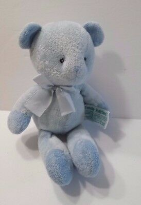 Russ Tender Rattles Plush Blue Bear with Bow 9 inches Baby Soft Toy