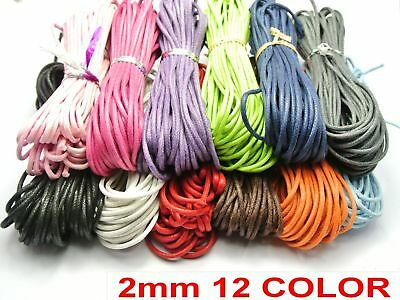 120 Meters Mixed Color Waxed Cotton Beading Cord 2mm Jewelry String 12 Color