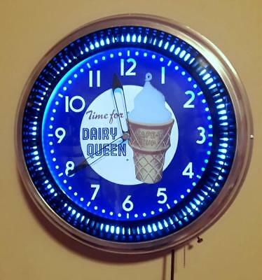 "Large 20"" Vintage ""PET"" DAIRY QUEEN Neon Spinner Clock MINT Fantastic NOS Gem!"