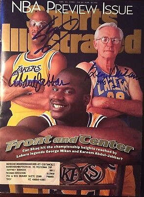 Shaquille ONeal Kareem Abdul Jabbar George Mikan Signed Sports Illustrated 1996