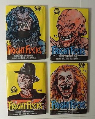 """O-Pee-Chee Fright Flicks """"4 Unopened Wax Pack Lot"""""""