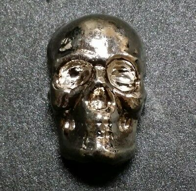 "Hand Poured ☆1 oz Silver Bar☆ ""Skull"" ☆ .999 Fine Silver ☆ YPS Nice ! Free Ship."