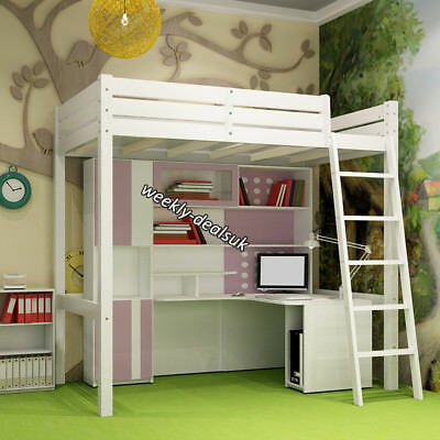 White High Sleeper Cabin Bed Children Kids Solid Wood Frame Bunk 3FT with Ladder