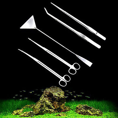 5Pcs Aquarium Water Fish Plant Tools Scissors Tweezers Leveler Algae Cleaner New