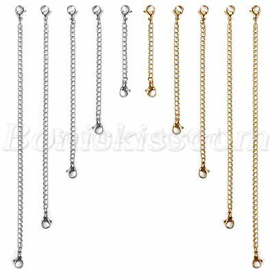 10pcs Silver/Gold Tone Stainless Steel Chain Link Necklace Extender Set 5cm-15cm