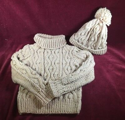 Handmade Sweater  and Hat Set   Knitted   Brown  NEW Unisex