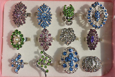 Wholesale lot jewelry 6pcs assorted Oversize Rhinestone Silver P Gift Ring FREE