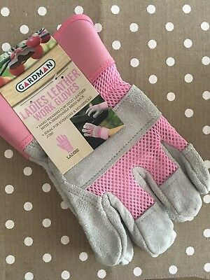 Ladies Leather Work / Gardening Gloves Lovely Pink & Grey
