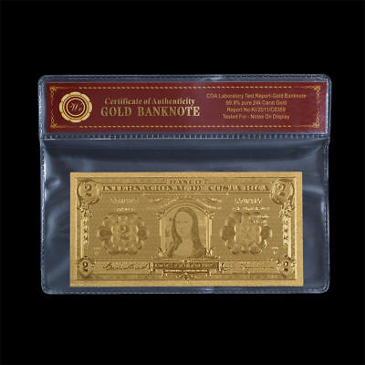 WR Gold Costa Rica Banknote 1931 Mona Lisa 2 Colones Paper Money Collector Gifts
