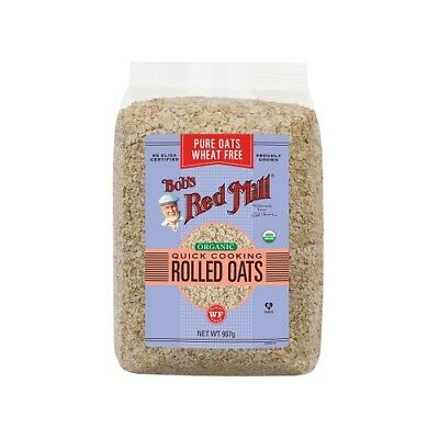 NEW  BOB'S RED MILL Organic Wheat Free Pure Quick Cooking Rolled Oats 907g