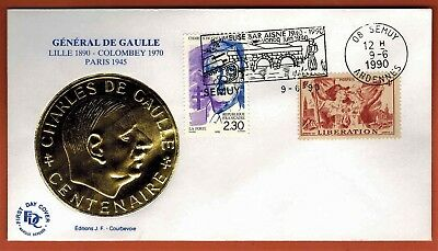 1990- France Fdc - Charles De Gaulle - Médaillon Or - Obl.Semuy - Yt.739/2634