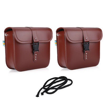 2Pcs Waterproof Brown Motorcycle PU Leather Saddle Bags Storage Pouch Left&Right