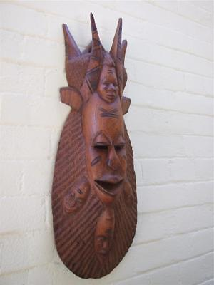 Vintage Large 5 Faces Carved Devil  Wall Mask Pacific Islands - Tribal Art Rare