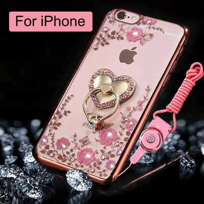 For iPhone 6 / 8 Plus Soft Clear Bling Case Bumper Cover & Lanyard & Metal Ring