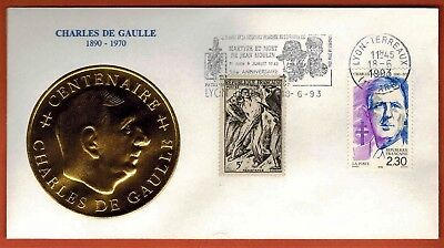 1993 - France Fdc - Charles De Gaulle - Moulin - Médaillon Or - - Yt.790/2634