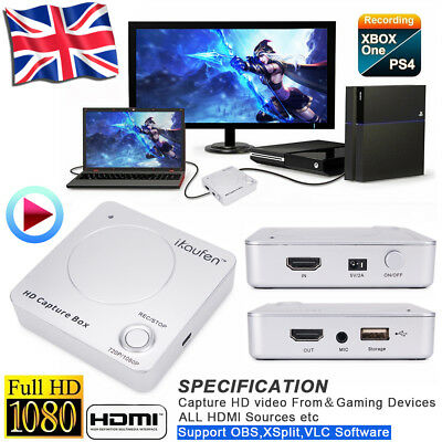 HDMI Video Capture USB 2.0 1080P Record Card Box Capture HD Media Player 4K 2K