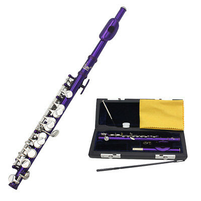 New Cupronickel Purple School Band C Key Piccolo Silver Mouthpiece +Leather Case