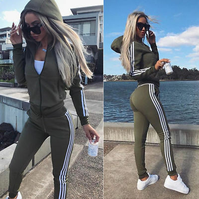 Women Velvet Stripe Tracksuit Hooded Sweatshirt Pants Loungewear Casual Zip Suit
