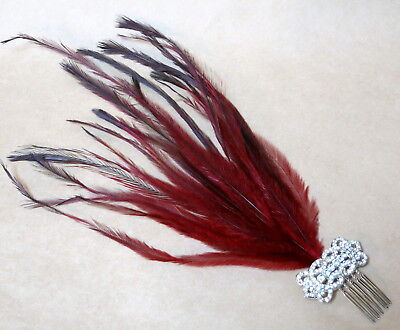 ART DECO DARK RED FEATHER & DIAMANTE HAIR COMB FASCINATOR by ELYSIAN CREATIONS