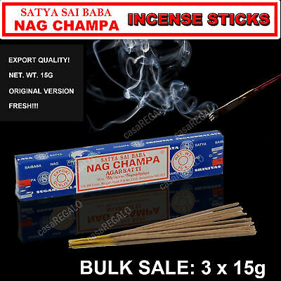 FRESH SATYA SAI BABA - NAG CHAMPA INCENSE STICKS - Bulk Pack - 3 x 15g