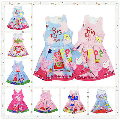 Kids Baby Girls Clothes Princess Dress Peppa Pig Summer Party Skate Dresses 2-7Y