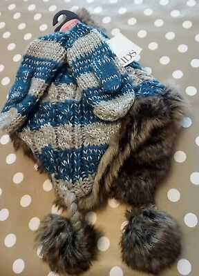 New M&s Girls Aged 3-6 Years Hat And Gloves Set In Blue And Grey Excellent Gift
