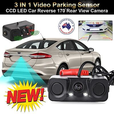3-in-1 CCD LED 170° Wide Angle Car Reverse Camera w/ Guide Line + Parking Sensor