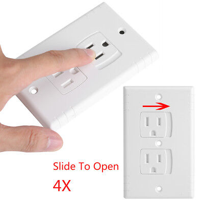 4X Electrical Outlet Covers Wall Socket Panel Baby Safety Self-closing Sliding
